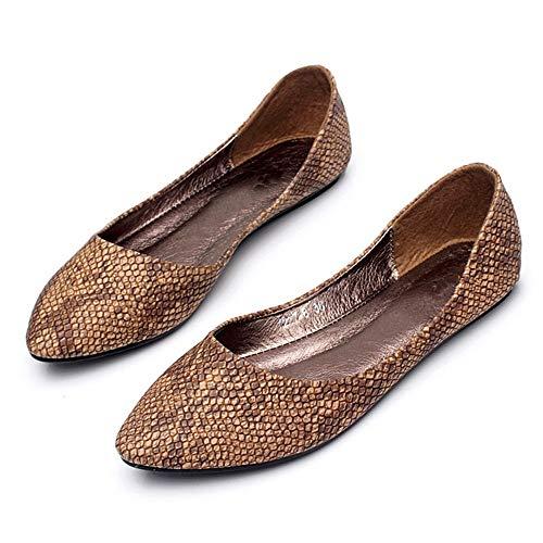 FLYRCX La Primavera y el Verano señalaron la Boca Baja Zapatos Solos Zapatos Planos cómodos de la Manera Ocasional Las Mujeres Embarazadas Calzan los Zapatos de Trabajo de Las señoras brown