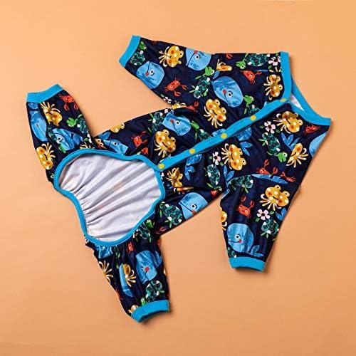 LovinPet Pijamas para perros grandes / Jersey elástico estampado de punto con estampados de la familia marina / Pijamas ligeros para mascotas / Pijamas para perros de cobertura completa Mono para perros grandes 9