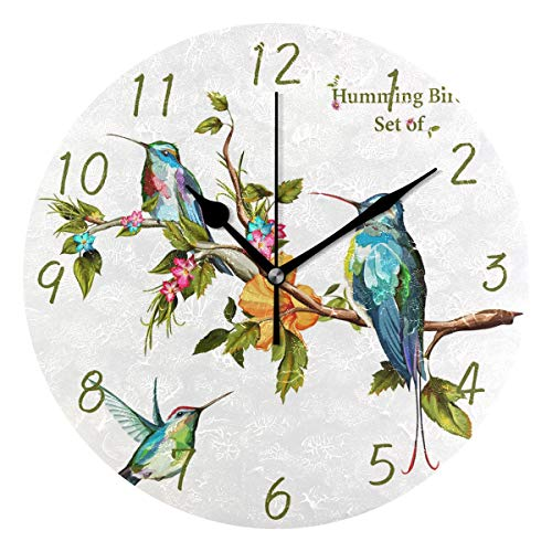 (MOYYO Humming Bird Wall Clock Decorative Round Acrylic Wall Clock Silent Non Ticking Battery Operated Creative Clock for Kids Living Room Bedroom Office Shop Kitchen)