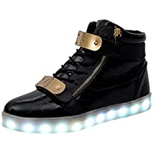 Kids & Adult High Top Led Shoes Metal Velcro USB Charging Flashing Sneakers