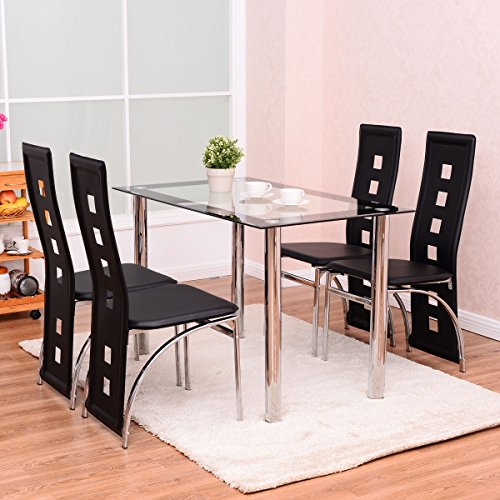 Amazon.com   Tangkula 5 PCS Dining Table Set W/Glass Top And 4 Chairs Home  Dinette Furniture   Table U0026 Chair Sets
