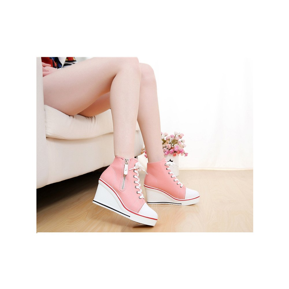 Women's Canvas High-Heeled Platform Wedge Fashion Sneaker Pump Shoes