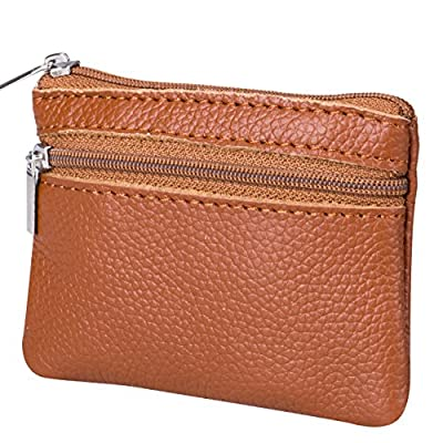 Women Genuine Leather Portable Coin Purse Money Organizer Pouch Wallet with Key Ring