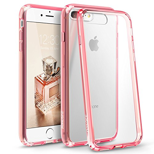 Eforcity Clear Crystal Phone Case - iPhone 8 Plus/7 Plus Case, BasAcc [Crystal Clear] Ultra Slim Hybrid Case W/ [Anti-Shock Protection] TPU Bumper, [Non Slip] Hard Back Panel Case Cover For Apple iPhone 8 Plus/7 Plus, Pink
