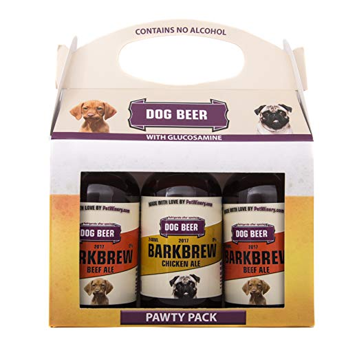 Pet Winery BarkBrew Pawty Pack - Organic Dog Beer (8 Ounce Bottles) (2 Beef Ale, 1 Chicken Ale, 3-Pack) Non-Alcoholic, Liquid Dog Treat | Use As Food Topper, Freeze, or As Is | Dog Birthday Treat