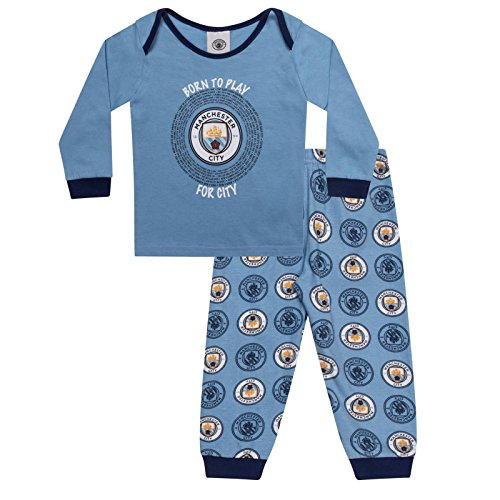 Manchester City FC Official Soccer Gift Boys Kids Baby Pajamas 18-24 Months Sky Blue (Toddler Manchester City Jersey)