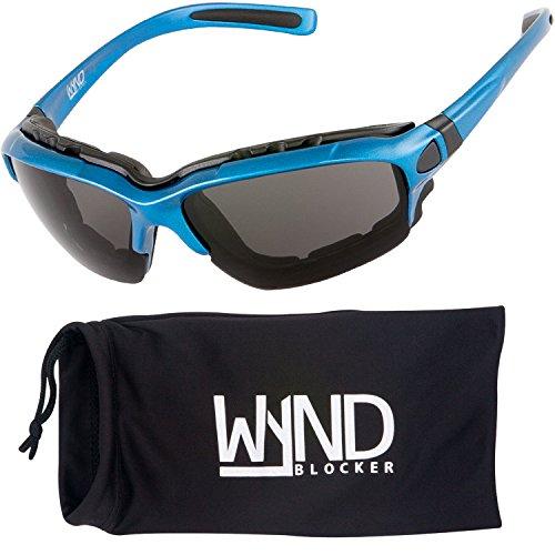 WYND Blocker Motorcycle Riding Glasses Extreme Sports Wrap Sunglasses, Blue, Smoke
