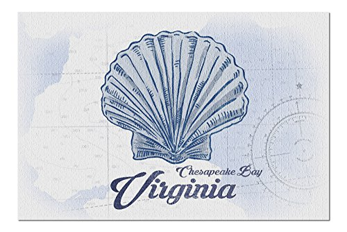 Chesapeake Bay, Virginia - Scallop Shell - Blue - Coastal Icon (20x30 Premium 1000 Piece Jigsaw Puzzle, Made in USA!)