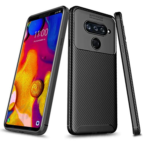 LG V40 / LG V40 ThinQ Case, E-Began [Carbon Fiber] Design [Ultra Slim] Thin Anti-Scratch and Non-Slip Light Weight Soft TPU Protective Cover Case for LG V40 / LG V40 ThinQ -Black
