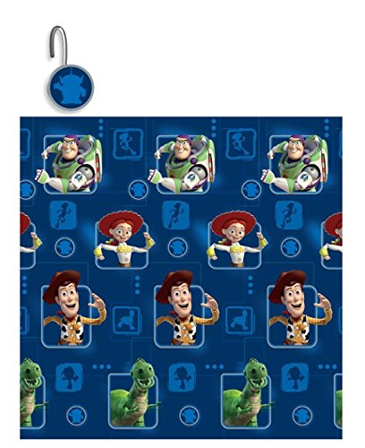 S&L Home Fashion 13 Pieces Disney Toy Story Shower Curtain with Matching Hooks
