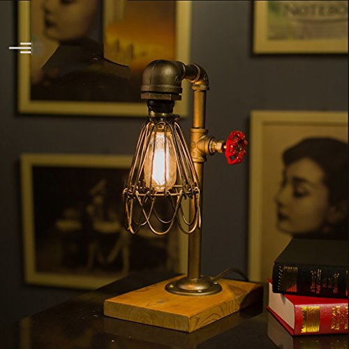 Simple Retro Solid Wood Base Study Eye Protection Table lamp/Industrial Wind Bedroom Bedside Water Pipe Iron Art Table lamp Size:2039cm by Table Lamps Q (Image #2)