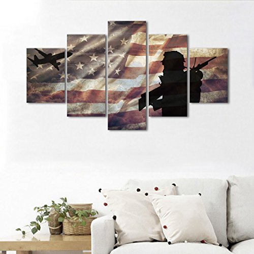 Yatsen Bridge Military Wall Decor, American Flag Canvas Painting Home Decoration Wall Art Independence Day Pictures Living Room 5 Panel Poster Framed Ready to Hang(50''Wx24''H)