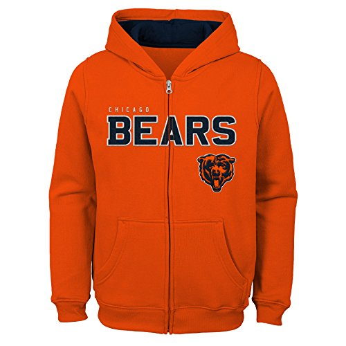 "NFL Chicago Bears   Kids & Youth Boys ""Stated"" Full Zip Fleece Hoodie, Orange, Youth Large(14-16)"