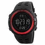 SKMEI Reloj para Hombre, Digital, Deportivo, Retroiluminación, Resistente al Agua, con Cronómetro, Alarma y Fecha, Dial Grande, Modelo 1251. Negro con Rojo