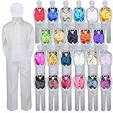 5pc Baby Toddler Kid Boy Formal Suit WHITE Pants Shirt Vest Bow tie Hat Set 5-7 (Size: 5, Purple)