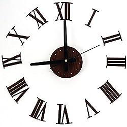 Wall Clock Modern 3D Design Creative Home Modern Art Metallic Roman Numerals Decoration DIY Wall Clock