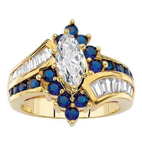 - Palm Beach Jewelry Marquise-Cut White Cubic Zirconia and Simulated Sapphire 14k Gold-Plated Bypass Ring Size 6