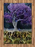 Ambesonne Tree of Life Area Rug, Psychedelic Magical Mysterious Tree at Night with Birds and Fishes Home Art, Flat Woven Accent Rug for Living Room Bedroom Dining Room, 4 X 5.7 FT, Multicolor