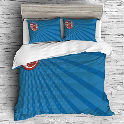 KING Size Cute 3 Piece Duvet Cover Sets Bedding Set Collection [ Sports,Pop Art Gridiron Illustration with Old Fashioned Visual Pties Throwing Man Print,Blue Red ] Comforter Cover Set for Kids Gi