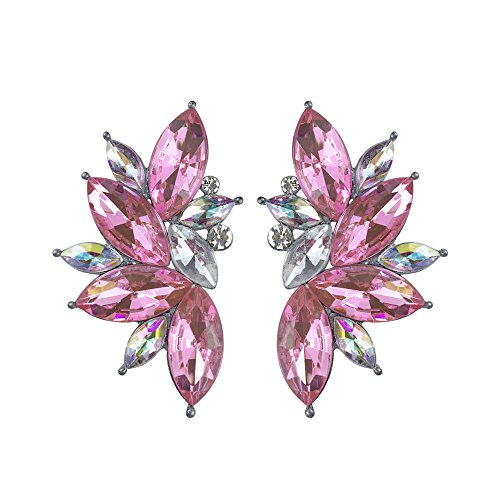 Colorful Punk Rock Spiky Oversized Candy Rhinestone Studded Cluster Women Stud Earrings in Shades of Rainbow - Purple, Green, Blue, Pink, Yellow, Red, and Many More! (Pink)