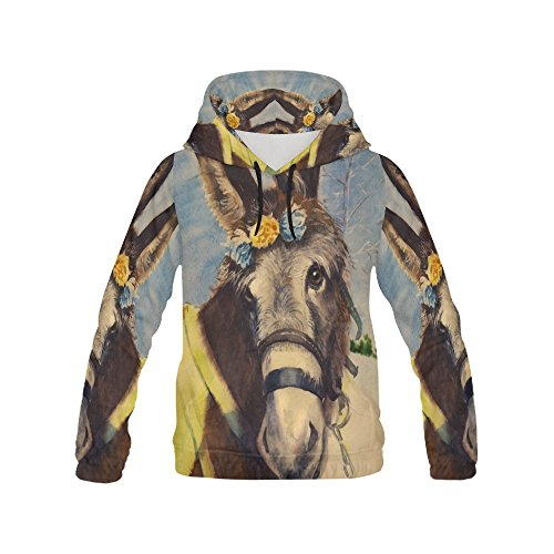 Artsadd Donkey Watercolor Painting Womens Casual Long Sleeve Hoodie Pullover Sweatshirts