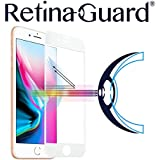 RetinaGuard Anti-blue Light Tempered Glass Screen protector for iPhone 8 - SGS & Intertek Tested - Blocks Excessive Harmful Blue Light, Reduce Eye Fatigue and Eye Strain (White Border)