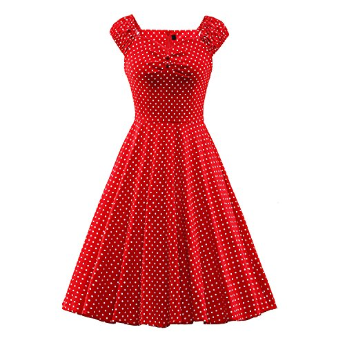 Solid Vintage Red Sleeveless Color Dress 50s Women's BFY Summer Hepburn 60s Audrey Tw0Kpanq