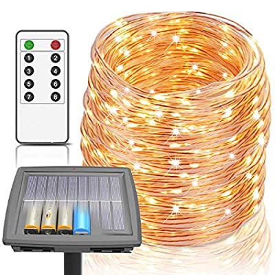 100 Ft Led Solar Rope Lights, 8 Modes LED String Lights Powered by Solar and Battery, 300 LEDs Fairy Lights IP67 Waterproof Solar Lights Outdoor String Lights for Garden Home Party