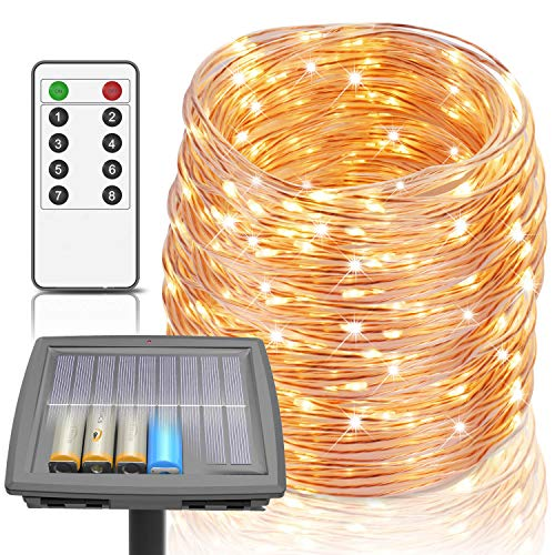 100 Ft Solar Rope Lights, 8 Modes Outdoor String Lights Powered by Solar and Battery, 300 LEDs IP67 Waterproof Fairy Lights with RF Remote Solar Lights for Patio Garden Party Home Decor (Warm White)