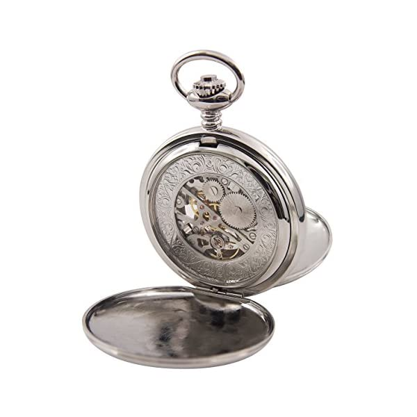 Regent-Hills-Vintage-Silver-Mechanical-Double-Hunter-Skeleton-Pocket-Watch-With-Chain-56529CP-W2