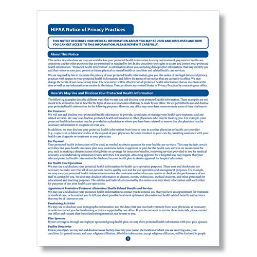 ComplyRight HIPAA Notice of Privacy Practices Form 100PK free shipping
