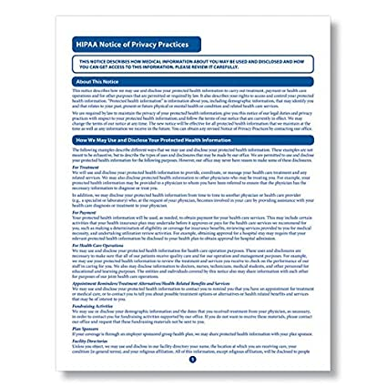 photograph regarding Free Printable Hipaa Forms called ComplyRight HIPAA Consideration of Privateness Habits Style 100PK