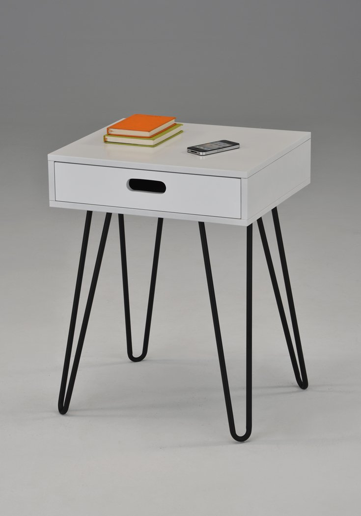 White Side End Table Nighstand Black Metal Legs with One Drawer 24''H - Mid-Century Style