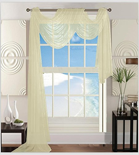 Elegant Comfort Beautiful Window Sheer Voile Scarf 55