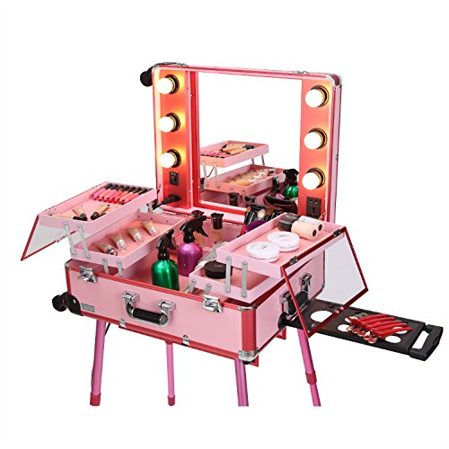 Sunrise Professional Makeup Artist Rolling Cosmetic Train Case with Lights, Pink