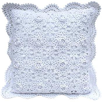 Country Style Hand Crochet Flower Deep Purple Cotton Zipper Cushion Cover B