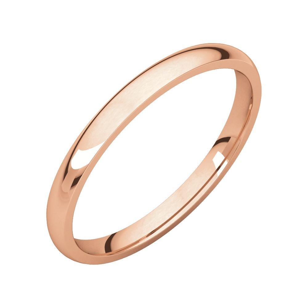 Size 9 Bonyak Jewelry 18k Rose Gold 2 mm Lightweight Comfort-Fit Band