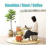 Round Footstool Padded Wood Small Osman Change Shoe Stool Detachable Linen Cover Orange (29cmx25cm)