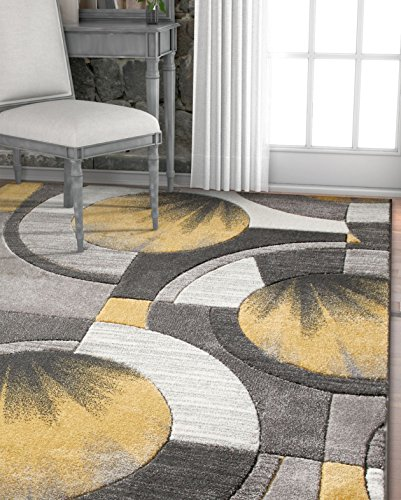 Grey, Charcoal Modern 4x5 4x6 ( 3'11'' x 5'3'' ) Geometric Comfy Casual Hand Carved Area Rug Easy to Clean Stain & Fade Resistant Abstract Contemporary Thick Soft Plush (6 Gold Area Rug)