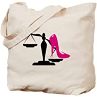 CafePress - Scales Of Justice With Pink High Heel - Natural Canvas Tote Bag, Cloth Shopping Bag