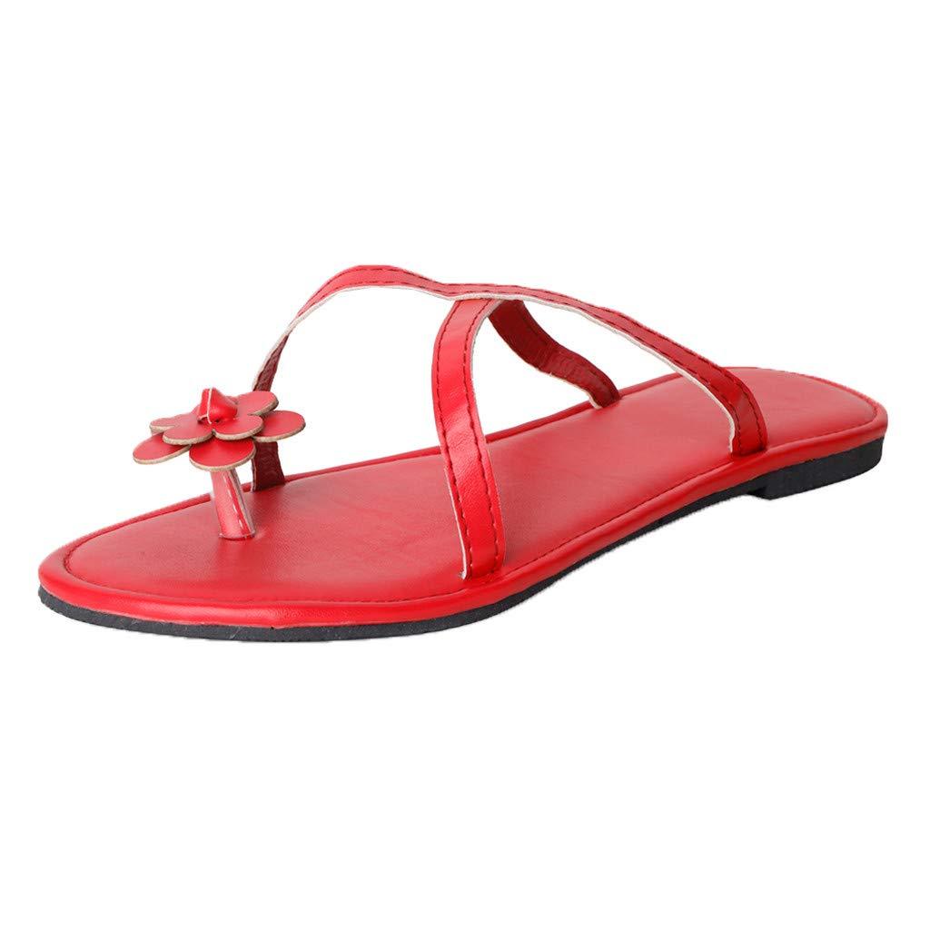 YEZIJIN Women's Flowers Flat-Bottomed Sandals Summer Flip-Flops Open Toe Beach Slippers Heels Platform Flats Shoes for Women Ladies Girl Indoor Outdoor Clearance Sale Under 10 Dollars 2019