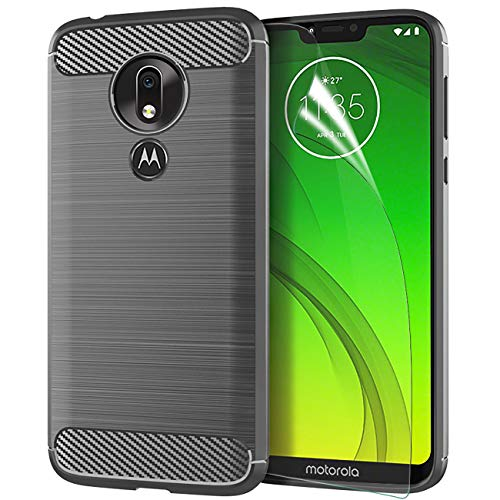 Motorola Moto G7 Power Case 2019 w/Screen Protector,Motorola Moto G7 Suqra TPU Phone Case Skin,CaseRoo Carbon Fiber Brushed Soft Slim Anti-Scratch Anti-Slip Rubber Bumper Protective Case Cover-Gray