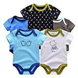 Kiddiezoom Baby Boys Girls Bodysuits Short Sleeve 100% Cotton, 5 Packs (9-12M, Glasses and Bear)