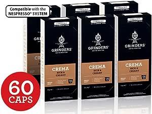 Grinders Coffee Nespresso Compatible Capsules, 60 Crema Capsules