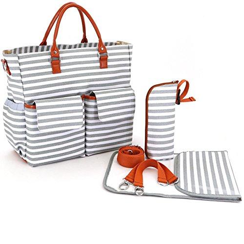 aido nger Baby Organizador Bolso cambiador con cochecito correa, cambiador y aislante bolsa gris gris gris
