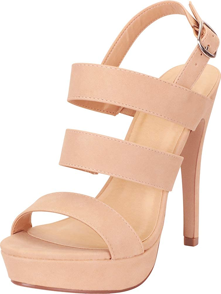 Natural Nbpu Cambridge Select Women's Open Toe Strappy Slingback Platform High Heel Sandal