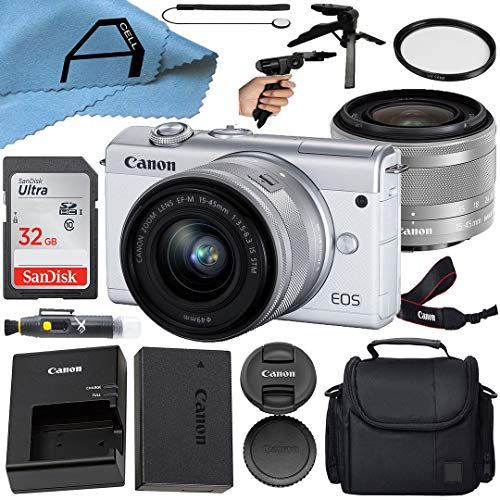 Canon EOS M200 Compact Mirrorless Digital Vlogging Camera with EF-M 15-45mm is STM Zoom Lens, SanDisk 32GB Memory Card, Case, Tripod and A-Cell Accessory Bundle (White)