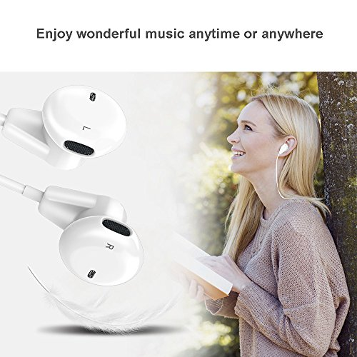 IPhone Earphones Earbuds Headphones Headset Fourcase Wired with Stereo Microphone and Volume Control for iPhone iPod Samsung Galaxy and all 3.5mm Android Smartphones 2 Pack by Fourcase (Image #7)