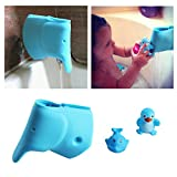 Image of Baby Bath Spout Cover - Faucet Cover Guard Protector for Kids and Toddlers - Child Bathroom Accessories Silicone Cover for Bathtub - Cute Tub Faucet Safety Spout Blue Elephant - Free Bath Tub Toys