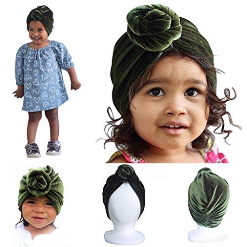 Designer Olive Velvet (Bunny & Hare Baby Girls Designer Turban Headband Beanie Hat (6-12 Months, Olive Green/Velvet Material))